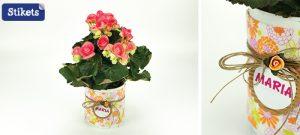 2. Dosen mit Stoff dekoriert als Blumentopf
