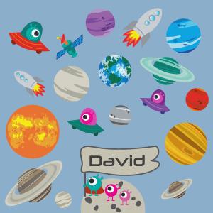 Personalisierbares Wandtattoo Planeten & Raketen