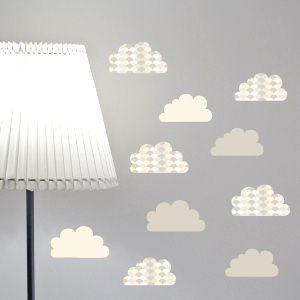 Deko Wandaufkleber Graue Wolken mit Ziegeln