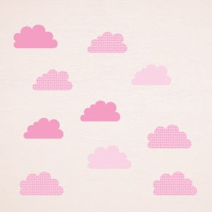 Deko Wandaufkleber Rosa Wolken mit Sternen