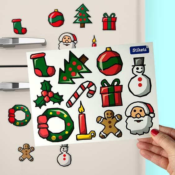 Aufkleber mit Weihnachtsmotiven