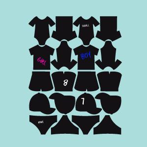 Tafelaufkleber Kollektion Kleidung